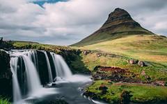 Kirkjufell (ScenEssence) Tags: iceland kirkjufell mountain water waterfall bluesky sunny sun church longtimeexposure