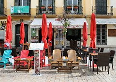 Places Matter (Esther Spektor - Thanks for 12+millions views..) Tags: malaga spain cafe street building restaurant chair table umbrella armchair door window balcony sign estherspektor canon city town