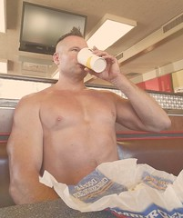 shirtless lunch (ddman_70) Tags: shirtless pecs chest muscle eating drinking fastfood restaurant