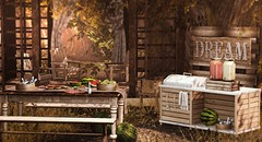 Summer memories (Alexa Maravilla/Spunknbrains) Tags: peaches {mossmink} uber summerfest taikou omen papercrowns secondlife sl watermelon blog blogger tarte happymood summer outdoors pergola bbq