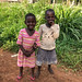 Kids outside of Budongo Forest