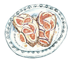 Figs and Ricotta on Toast (Sharon Farrow) Tags: figs fruit snack summer summertime platedfood food foodanddrink foodillustration foodanddrinkillustration illustration illustrator illustratedfood decorative pattern lunch toast sharonfarrow ricotta mixedmedia pencil paint pen eating eat health healthy handdrawn healthyeating healthyfood