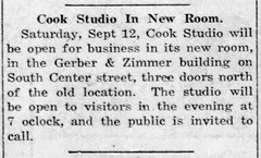 1925 - Cook photo studio moves to Gerber & Zimmer bldg on S Center - Enquirer - 10 Sep 1925