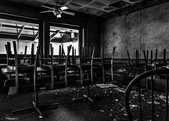 Abandoned Shoney's: Tables & Chairs Oh My! (that_damn_duck) Tags: nikon shoneys blackwhite monochrome abandoned tables chairs debris urbex urbanexplorer decaying restaurant bw blackandwhite