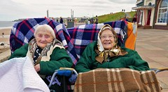 grand day out (Mr Ian Lamb 2) Tags: whitleybay northtyneside ladies dayout wrappedup coast promenade seaside women happy smile pensioners oldladies warm rendezvouscafe