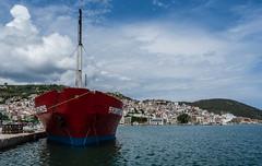 Weekly Cargo Ship Docked at Skopelos Town Harbour (Olympus OM-D EM1-Mk2 & M.Zuiko 12-100mm f4 Pro Travel-Zoom) (1 of 1) (markdbaynham) Tags: greece greek skopelos skopelostown greekisland hellas hellenic aegean aegeanisland grecia greka europe vacation holiday greekholiday summerholiday oly olympus olympusgreece olympusomd omd em1 em1mk2 em1ii csc mirrorless micro43 microfourthird microfourthirds m43 m43rd mzd zd mz zuikolic mzuiko micro43rd evil harbour 12100mm f4