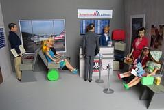 22. Waiting for their flight (Foxy Belle) Tags: doll barbie vintage mod 1960s airport diroama ooak gray waiting room playscale paper cardboard foam core board scrapbook dollhouse 16
