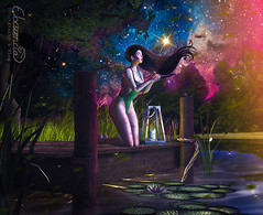 Meet me in outer space. (elocuenciaresident) Tags: hair tableau vivant demon huntress tch swimsuit addams priscila collabor88 scene milk motionpicnic water edge lantern lilies tree c88 cute photography photo photoshop