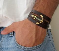 Gifts For Him : Cuir Bracelet Bracelet brun Mens bijoux bijoux par Galismens (giftsmaps.com) Tags: gifts