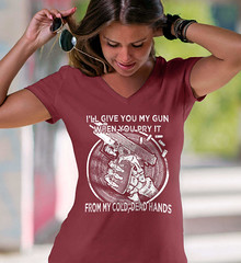 I'll Give you My Gun, When You Pry It From My Cold Dead Hands. White Print. Women's: Anvil Ladies' V-Neck T-Shirt. Independence Red.  | Loyal Nine Apparel (LoyalNineApparel) Tags: 2a 2ndamendment co colddeadhands comeandtake country countrygirl countrylife dtom fashion firearms girlsandguns girlswithguns girly instagood loyalnineapparel loyalnineclothes molonlabe ootd patrioticwomen pewpew secondamendment shallnotbeinfringed tee teeshirt threeper threepercenter tshirt womensfashion womenwhoshoot