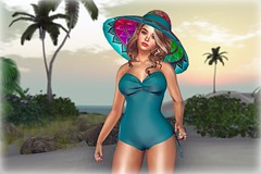 Swank - The Perfect Tropical Hat (lauragenia.viper) Tags: bento charme collabor88 elise genusproject glitterposes maitreya secondlife secondlifefashion skinnery swank xenshats elegant vintage avatar virtual cgi laurageniaviper secondlifeblogger secondlifemodel hat swimsuit tropical summer beach ring palm tree sky girl woman female cute sexy jewelry bathingsuit