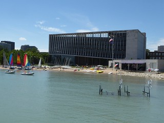 Evanston, IL, Northwestern University Campus, Parking Garage and Sailing Center on the Shore of Lake Michigan