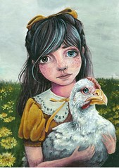 Quirky Children No. 4 (loakes.art) Tags: ribbon yellow bow heart fashion collar eye eyes heterochromia green forest girl whimsical lisaoakesart illustration portrait painting acrylic paper small head face freckles cheeks chicken pet bird beak feathers dandelion field