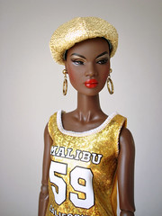 Nadja (Deejay Bafaroy) Tags: fashion royalty fr integrity toys doll puppe barbie nadja cinematic convention portrait porträt black schwarz white weiss gold golden cap kappe earrings ohrringe red rot yellow gelb outofsightnadjar outofsightnadja outofsight nuface