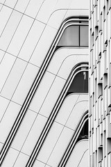 Architectural Delight (Leipzig_trifft_Wien) Tags: wien österreich at detail architecuture white lines curve diagonal facade structure pattern blackandwhite bnw contemporary modern city urban building vienna