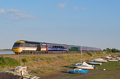 43185 passes Cockwood Harbour on the rear of the 1630 Paddington- Paignton (Hoovering_crompton) Tags: hst high speed train swallow intercity 125 livery cockwood harbour devon class 43 nikon d3300 boats sky water river exe