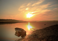 Silence is golden (Patricia McAtee - Photos of Maine) Tags: sun boat reflection sunrise sky river golden serene peaceful silence quiet morning sea seacoast