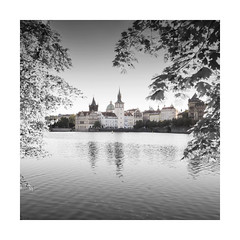Sneak Peak (GlennDriver) Tags: black white bw blackandwhite colour canon nd eos prague city europe water sky trees leaves river architecture