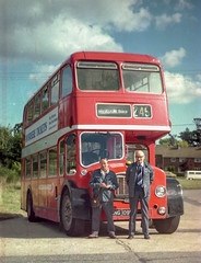 Colin Ironside & Alf Milbourne at Ufford with Eastern Counties ENG109C in 1979_2 (BristolRE2007) Tags: bus easterncounties ecw easterncoachworks nbc nationalbuscompany lodekka suffolk
