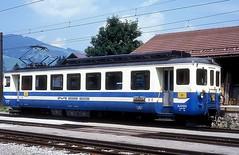 MOB 1002  Gstaad  29.07.92 (w. + h. brutzer) Tags: gstaad eisenbahn eisenbahnen train trains schweiz switzerland railway triebwagen triebzug triebzüge mob webru analog nikon