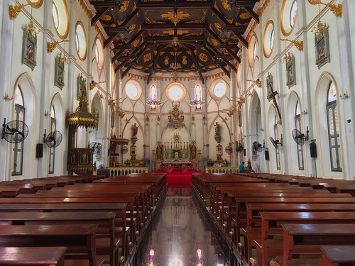 Interior of the Nativity of Our Lady cathedral by the Mae Klong river in Samut Songkhram province in Thailand