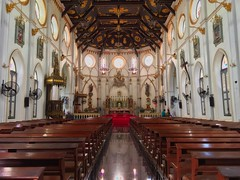 Interior of the Nativity of Our Lady cathedral by the Mae Klong river in Samut Songkhram province in Thailand (UweBKK (α 77 on )) Tags: interior church christianity cathedral nativityofourlady nativity lady benches religion religious architecture design iphone amphawa samut songkhram southeast asia