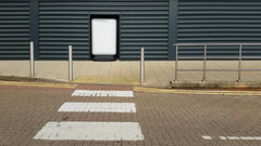 20170712_171752 [ps] - To nothingness (Anyhoo) Tags: anyhoo photobyanyhoo ladymead guildford surrey zebracrossing retailpark bollards railings wall sign panel blank empty missing blocked fireexit blockedfireexit deadend paving siding corrugated black england uk
