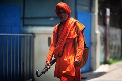 When You Are Content.... (N A Y E E M) Tags: monk priest hindu candid portrait colors noon light street panchlaish chittagong bangladesh windshield brahmin purohit
