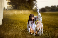 drying laundry (pipe notjustaphoto) Tags: girl kid little dog puppy drying laundry country romantic scene