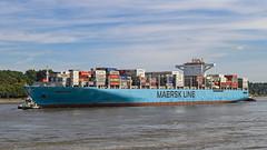 HH Waltershof Maersk Genoa 9739680 Peter Michel (Wolfgang Schrade) Tags: elbe containerschiff schiff maerskgenoa schlepper peter michel 0979680 hamburg hamburgerhafen waltershof container fluss