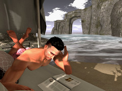 Morning Papers on the Beach (ScottSilverdale) Tags: secondlife sl reading scottsilverdale lifestylemagazine thepapers morning cove beach ocean rocks sea cliffs water arch undies daybed canopy shade waves surf relax relaxing lazymorning studioskye skye digs realwaves waterside signature signaturegianni catwa catwadaniel birth argrace noche