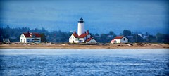 THERE ARE MANY WHO OFFER ADVICE BUT FEW WHO OFFER GUIDANCE.  ~anonymous (Irene2727) Tags: lighthouse landscape scape panoramam pano porttownsend washingtonstate water blue nature buildings point wilson