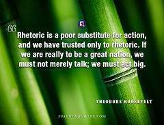 Theodore Roosevelt Quote Rhetoric poor substitute (Friends Quotes) Tags: act action american be big great merely must nation only poor popularauthor president really rhetoric roosevelt substitute talk theodoreroosevelt trusted