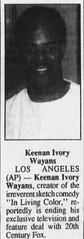 Keenan Ivory Wayans / Keenen Ivory Wayans (The Mandela Effect Database) Tags: keenan ivory wayans keenen living color mandela mandala mandelaeffect residual research residue proof print news newspaperscom newspapers