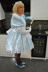 Sissy Barbie in baby blue 26 (sissybarbie1066) Tags: sissy maid sissymaid baby blue babyblue satin uniform white pete pan collar peterpancollar petticoat kitchen puff sleeves champagne