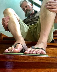 Havaianas feet in Portuguese hotel. (silvpix) Tags: guy man barefeet flipflops stairs feets havaianas portugal
