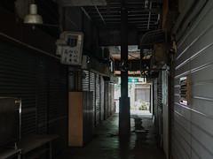 a forgotten place #2/ 線香店 (kasa51) Tags: alley roof shoppingstreet shutter sign dim kawasaki japan 亀甲マーケット