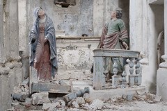 Chiesa del Cielo Cadente (Explore) (Jonnie Lynn Lace) Tags: abandoned italy italia italian church churchruins chiesa religion religous altar statues collapse mary symbols people person europe european trip travel texture textures decay derelict detail details peelingpaint pray ornate ruinas ruins interior old classic history historic blue red white green yellow nikkor nikon d750 50mm digital flickr bright shadows cross cracks exploration explore explorer urbex world spring memories time stone stonework