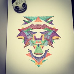 Extra shading for this piece. (Dat Asian) Tags: shapes shading dots pointillism stippling geometric graphic creature creative art abstract sketch doodle drawing details design visualart visualarts