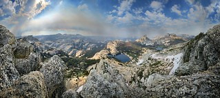Panorama above Lower Cathedral Lake - Yosemite