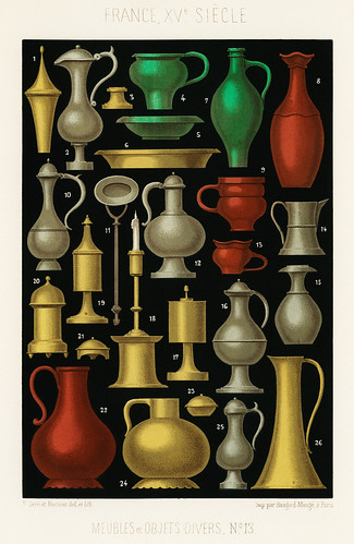 Miscellaneous Furniture and Objects (1858) by Ferdinand Sere, a collection of simple utensils and objects of the 15th century. Digitally enhanced from our own chromolithographic plate.