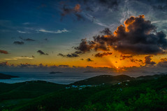 Last St. Thomas Sunrise (tquist24) Tags: caribbean caribbeansea drakesseat hdr nikon nikond5300 outdoor stthomas usvirginislands virginislands clouds forest geotagged golden hill hills island islands landscape morning ocean sea seascape sky sun sunrise tropical water