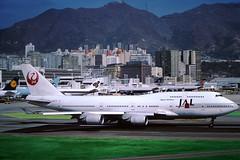 1992 JAL prepares to take off (Eternal1966) Tags: old hong kong