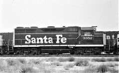Santa Fe GP35 locomotive at San Bernardino in 1976 9421 (Tangled Bank) Tags: old classic heritage vintage railroad railway trains north american santa fe atsf gp35 locomotive san bernardino 1976 9421