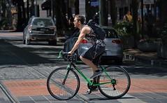 Transportation (Scott 97006) Tags: man guy ride bike bicycle city transportation backpack pedal street