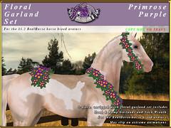E-RH-FloralGarlands-Primrose-Purple (honeyheart1) Tags: sl secondlife eliteequestrian horse realhorse garland floral flower wedding