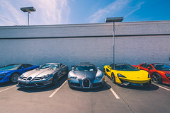 SoCal Supercars (Noah L. Photography) Tags: mclaren 570s mercedes slr 722 roadster bugatti veyron 164 blue silver yellow orange car sportscar supercar hypercar british german french lamborghininewportbeach newportbeach costamesa
