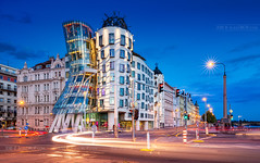_MG_5096 - The Dancing House in blue hour (AlexDROP) Tags: 2018 czechia czechrepublic europe prague praha art travel architecture color city bluehour landscape church tower urban longexposure lightstream hdr canon6d ef16354lis best iconic famous mustsee picturesque postcard banner greatphotographers