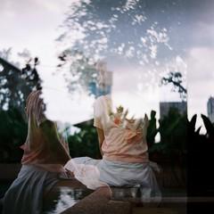 Double (bdrc) Tags: agfa isolette agnar 85mm f45 prime manual legacy classic vintage relic kodak professional ektar 100 color negative film 120 6x6 mediumformat mf asdgraphy malaysia malaysiaphotographer people girl portrait tsuyu sei workaround salt water pool doubleexposures double exposure swimsuit