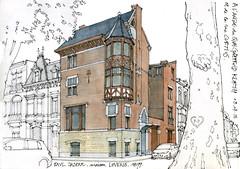 Paul JASPAR, maison Lovens, 1899 (gerard michel) Tags: liège architecture quai sketch croquis aquarelle watercolour artnouveau